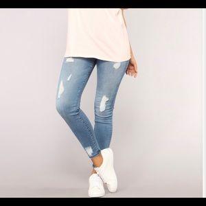 High rise distressed fashion nova skinny jeans